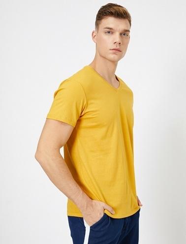 Koton V Yaka %100 Pamuk Slim Fit Basic T-Shirt Sarı